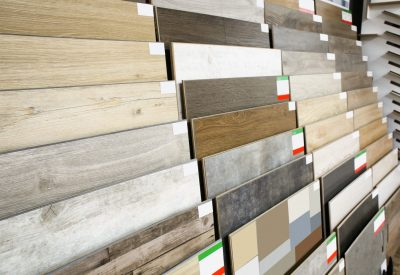 Assortment of flooring samples in shop