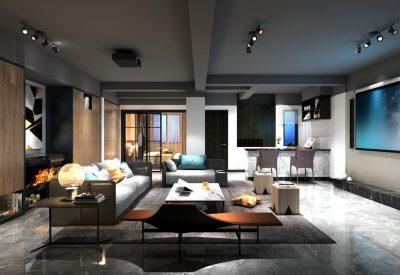 3d render home cinema room
