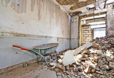 Abandoned room under demolition before renovation