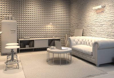 Interior of modern man living room with bar 3 D rendering